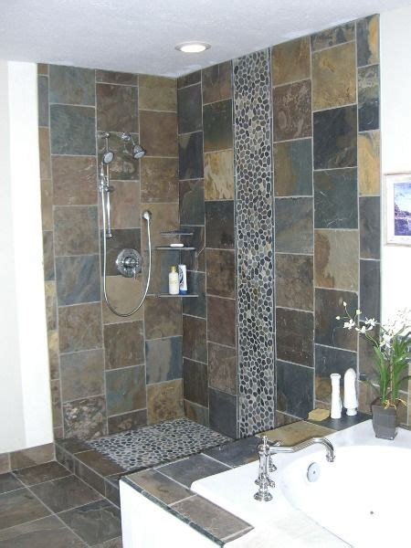 river rock bathroom ideas more slate with river rock details architectural
