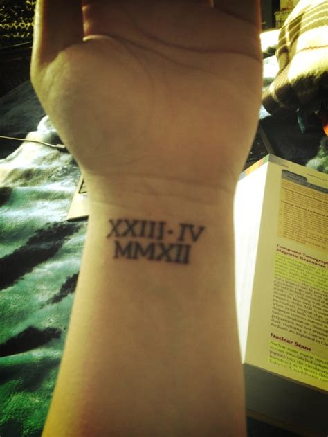 roman numeral date tattoos numeral my wedding date and in white