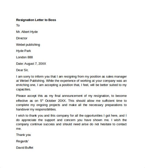 sample resignation letter examples ms word
