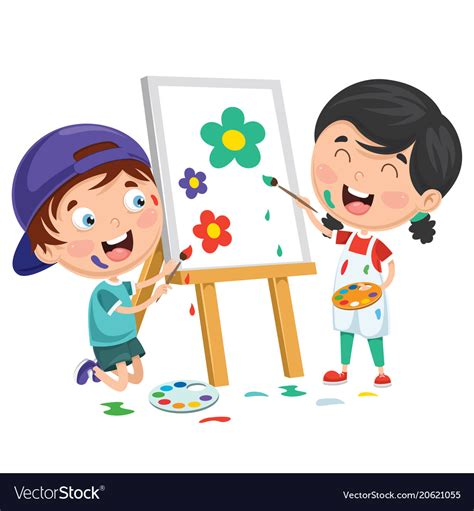 Clipart Bambino Painting On Canvas Royalty Free Vector Image