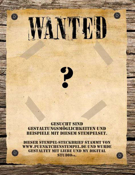 Word Vorlage Wanted Steckbrief Stempelsteckbrief Puenktchenstempel De