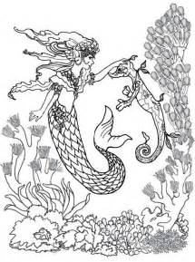 mermaid and sea horse coloring pages get coloring pages