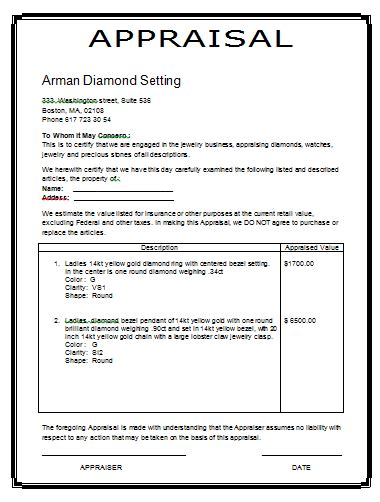 Jewelry Appraisal Form Template image gallery jewelry appraisal template