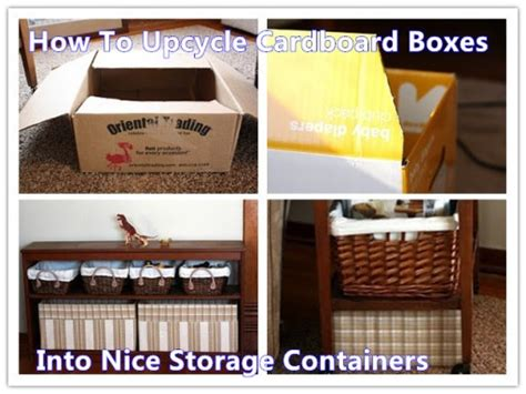 how to upcycle cardboard boxes into storage