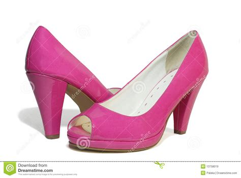 pair of pink patent leather shoes royalty free stock
