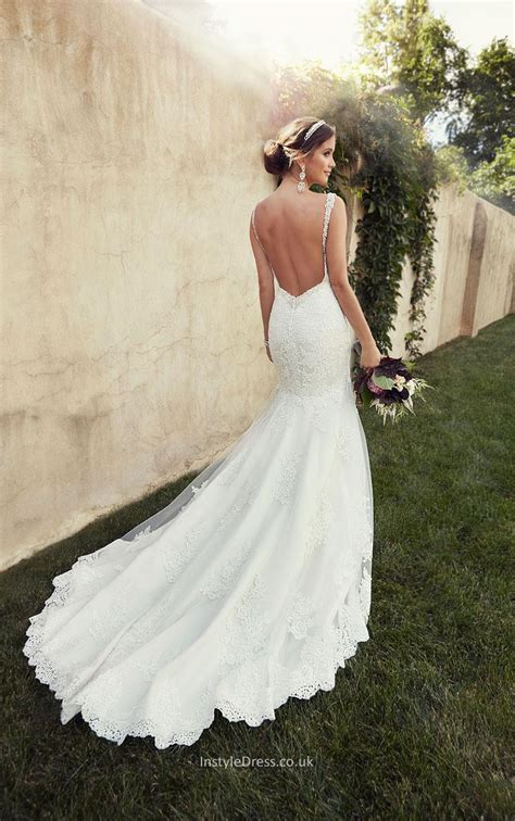 lace wedding dresses uk spaghetti straps backless lace mermaid wedding