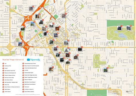 printable tourist map of free printable map of denver attractions free tourist