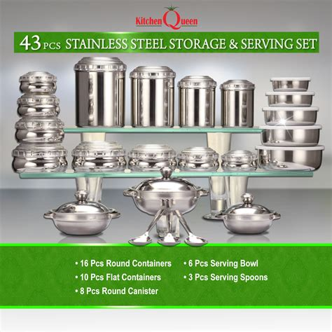 steel queen kitchen buy kitchen queen 43 pcs stainless steel storage serving