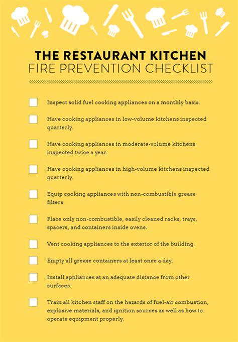 restaurant kitchen fire prevention checklist strike