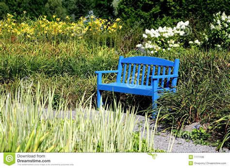 blue garden bench blue bench royalty free stock image image 7771106