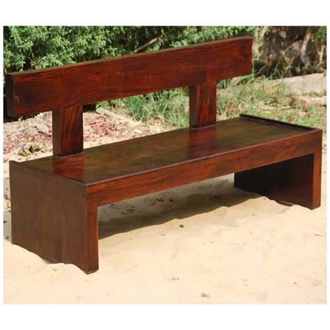 Block Style Solid Wood Indoor Outdoor Bench Furniture