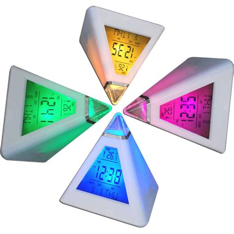 Color Changing Pyramid Clock Jam Meja Digital jam moody pyramid tokoonline88