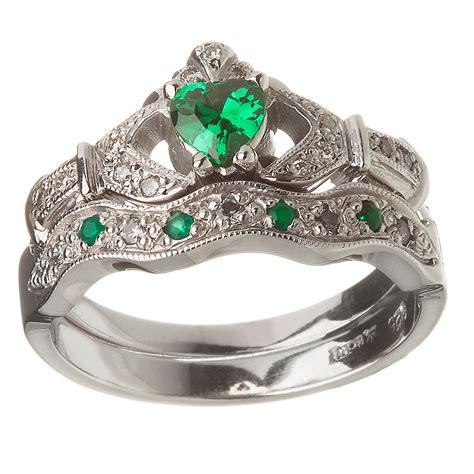 Wedding Rings Emerald by 14k White Gold Emerald Set Claddagh Ring Wedding