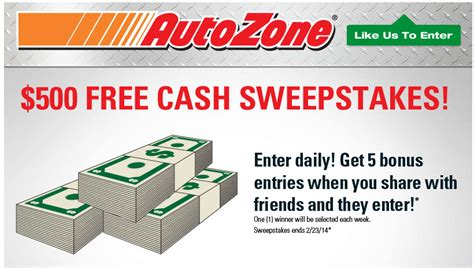 Autozone Sweepstakes - autozone 6 winners each get 500 free cash