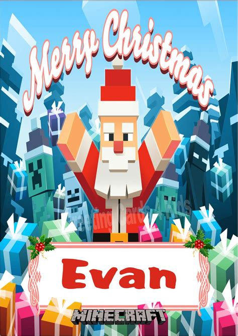 Minecraft Gift Card Price - personalised minecraft christmas card design 1