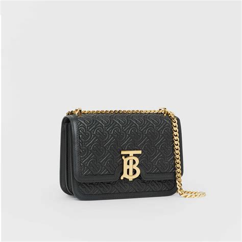 small quilted monogram lambskin tb bag  black women