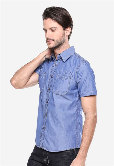 Lgs Shirt Jsh 390 S417f 398 C slim fit kemeja fashion biru muda denim polos