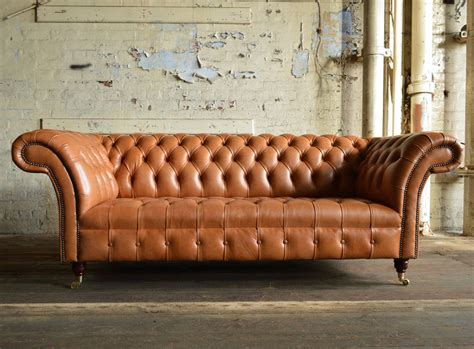 Montana Old English Tan Leather 3 Seater Chesterfield Sofa
