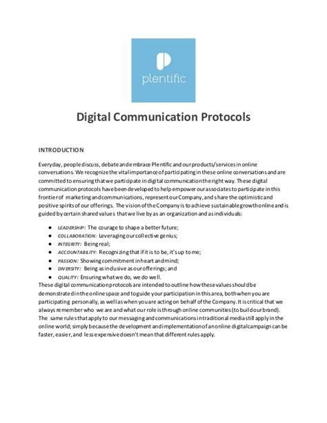 digital communications protocol template