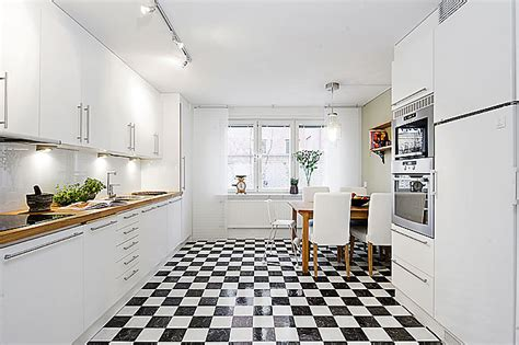 black and white chessboard on the floor scandi