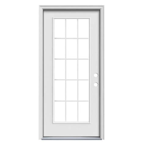 15 Light Exterior Door Shop Jeld Wen 1 Panel Insulating 15 Lite Left Inswing Steel Primed Prehung Entry Door