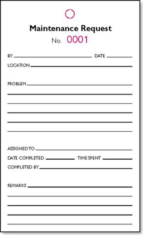 Maintenance Request Form Pads Pack Of 10 Printed Hotel Supplies