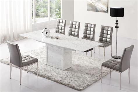 Grey Dining Table Chairs Zeus White Grey Marble Extending Dining Table 6 Chairs