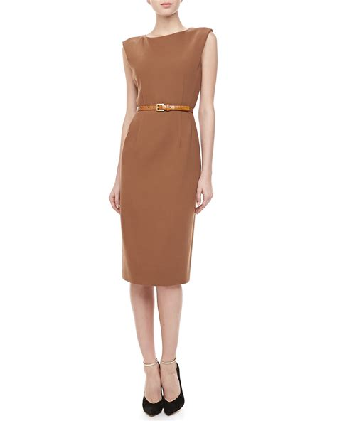 michael kors boucle crepe belted sheath dress saddle in