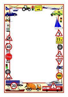 transport themed  page borders sb sparklebox