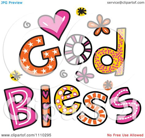 clipart colorful sketched god bless text 1 royalty free