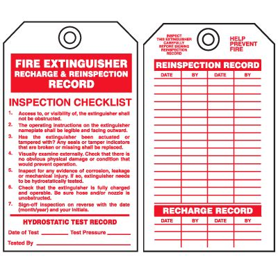 extinguisher inspection tag template safety inspection tags extinguisher recharge