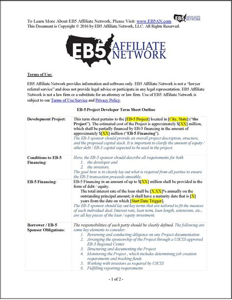 investor term sheet template sle eb 5 project developer term sheet
