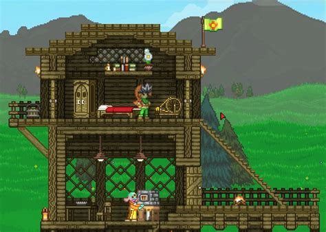 starbound houses starbound basic house with copper lighting and wood