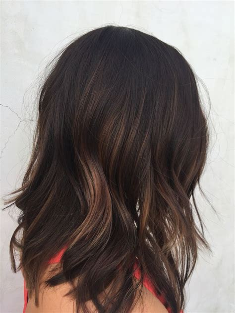 hairstyles for mid length dark hair dark brunette balayage medium length