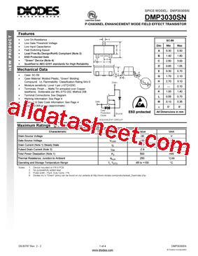 diodes inc bss84 dmp3030sn datasheet pdf diodes incorporated
