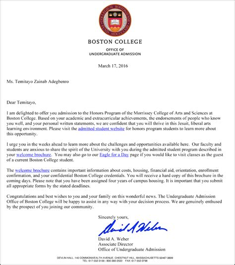Boston College Letter Of Recommendation Sat Prep Classes Acceptance Letters Boston Letter Sle