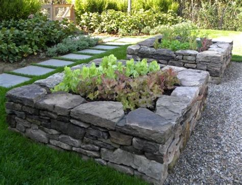 raised beds  stone garden beds backyard garden