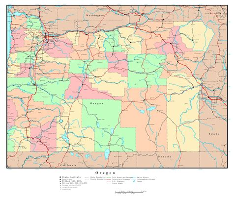 map of oregon cities large detailed administrative map of oregon state with roads highways and major cities