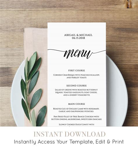 wedding menu card templates diy menu card template rustic dinner menu wedding menu card