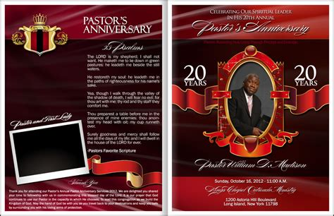 pastor and anniversary program invitations ideas