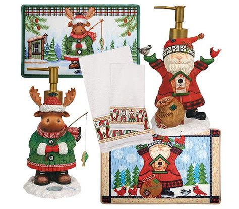 holiday bathroom accessories winter pals santa christmas shower curtain holiday bath accessories townhouse linens