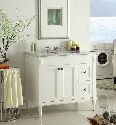 White Bathroom Vanity With Marble Top by Adelina 36 Inch White Finish Bathroom Vanity Marble