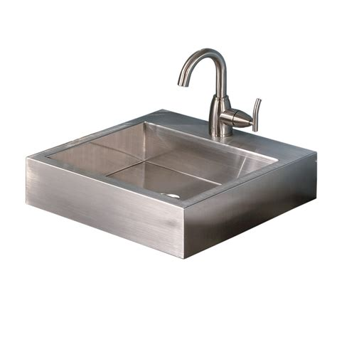 square sink bathroom shop decolav simply stainless brushed stainless steel