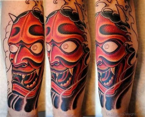 red hannya mask tattoo designs 40 stunning mask tattoos on leg
