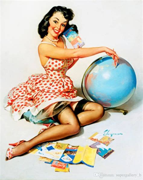 Discount Online Home Decor 2018 vintage pinup girl gil elvgren hand painted art oil