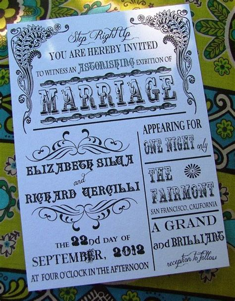 circus wedding invitations vintage circus poster wedding invitation by sweetcookie on