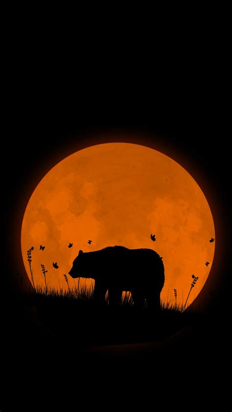 grizzly bear super moon iphone wallpaper iphone wallpapers