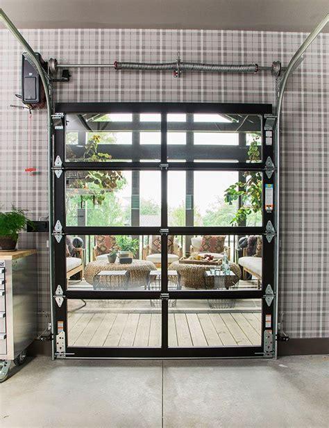 glass panel roll up door inside inside the hgtv oasis 2016 garage yet