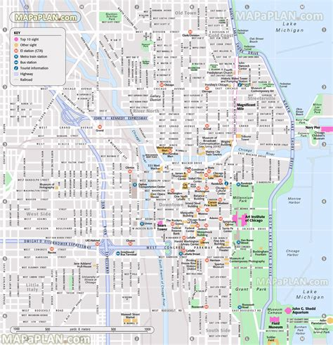 chicago city map chicago tourist hotspots free pictures finder