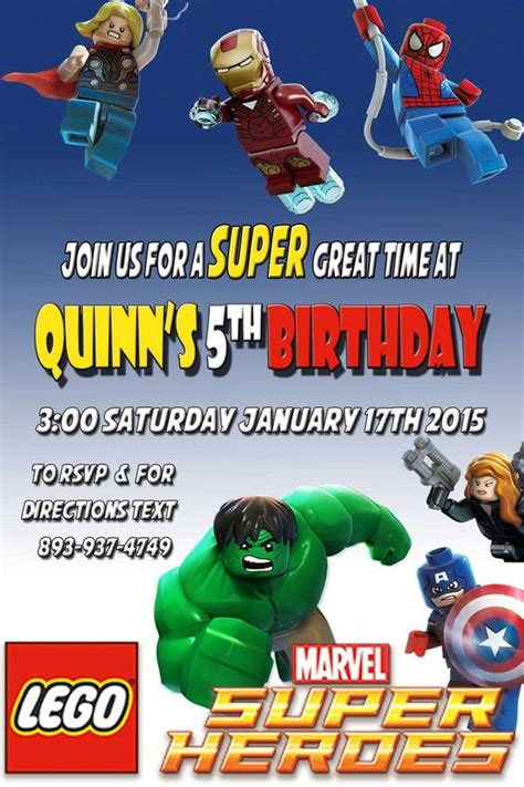 Printable Lego Marvel Birthday Party Invitation Digital Download Customizable For Your Party Marvel Invitation Template Free